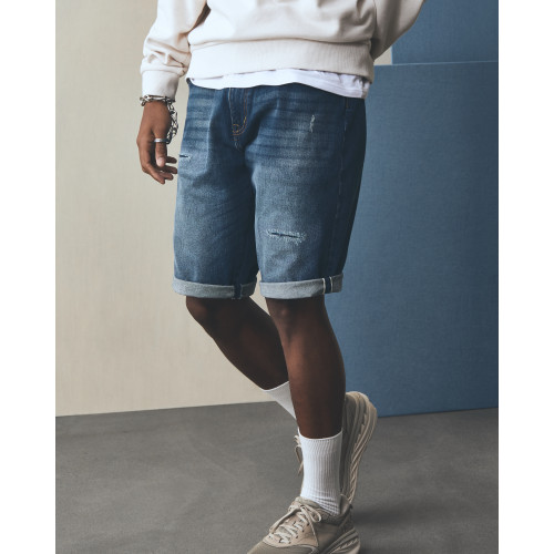 LAKH Distressed Shorts Navy