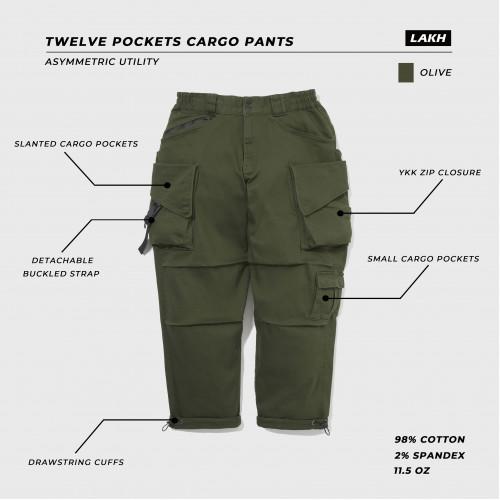 LAKH Twelve Pockets Cargo Pants Olive