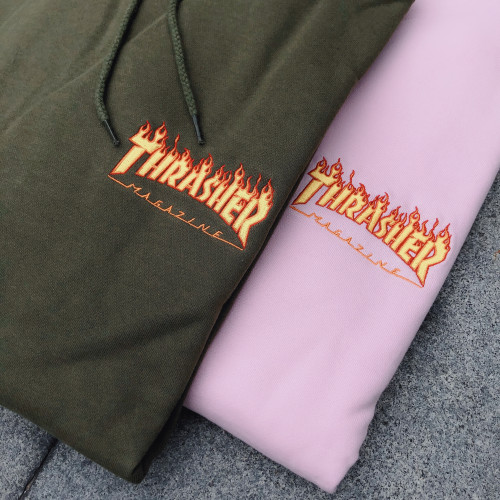 Thrasher Embroidered Flame Hooded