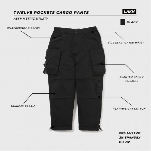 LAKH Twelve Pockets Cargo Pants Black